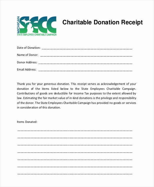 Tax Donation Receipt Template Beautiful Sample Donation Receipt form 8 Free Documents In Pdf
