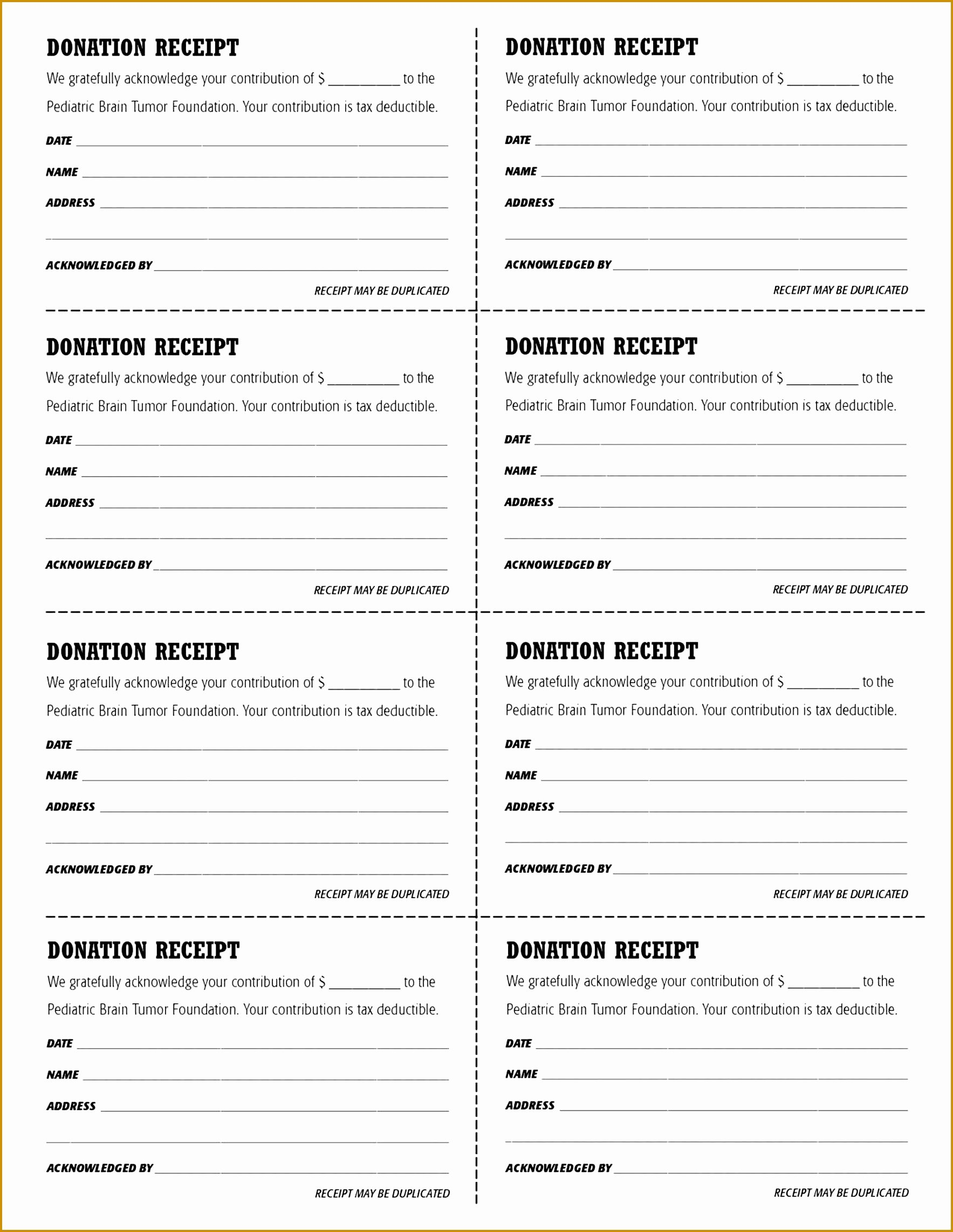 Tax Donation Receipt Template New 6 Tax Deductible Receipt Template