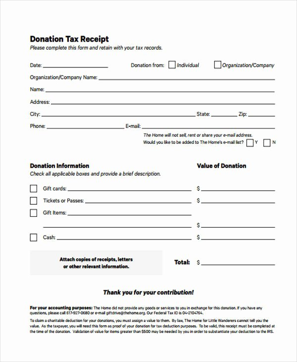 Tax Donation Receipt Template Unique Printable Receipt forms 41 Free Documents In Word Pdf