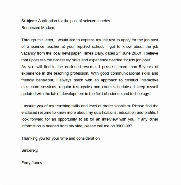 Teacher Cover Letter format Awesome 8 Teacher Cover Letter Templates – Samples Examples