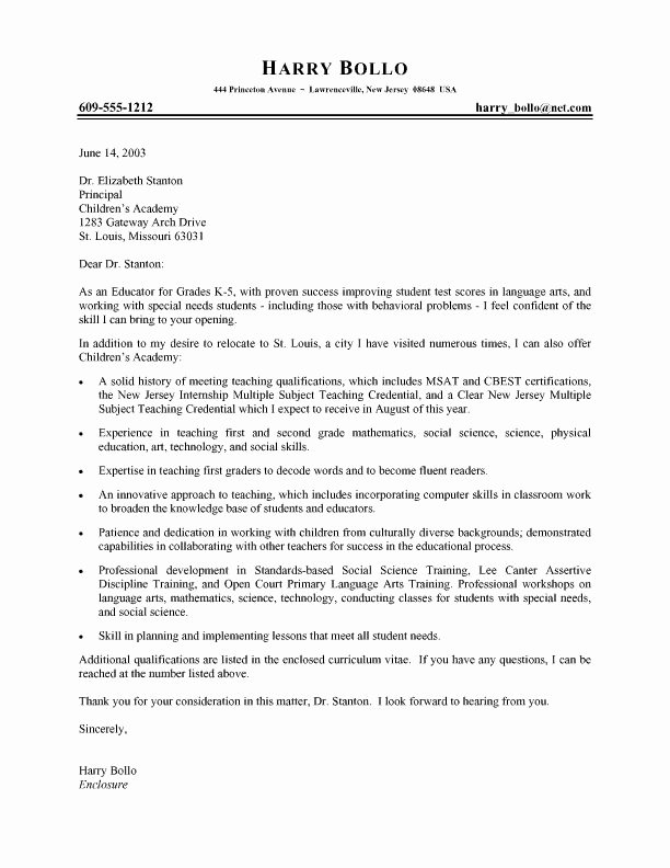 Teacher Cover Letter format Awesome Professional Teacher Cover Letter Job Hunt