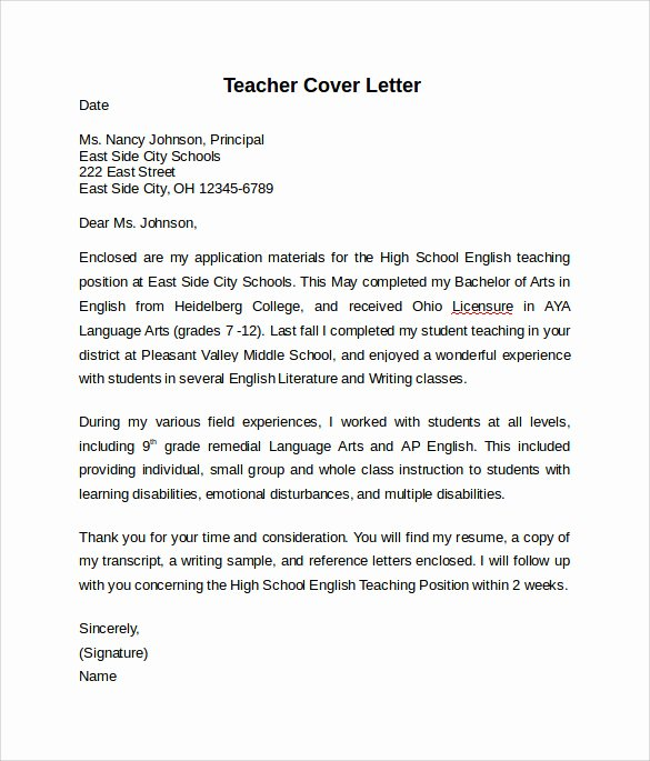 Teacher Cover Letter format Best Of 10 Teacher Cover Letter Examples Download for Free