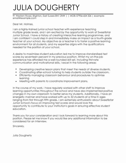 Teacher Cover Letter format Elegant Teacher Education Cover Letter Template