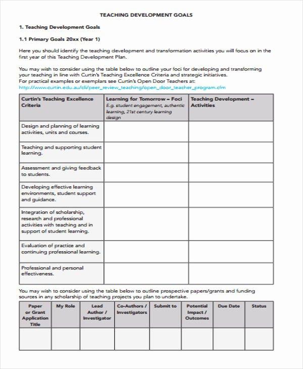 Teacher Improvement Plan Template Fresh Performance Development Plan Templates 9 Free Word Pdf