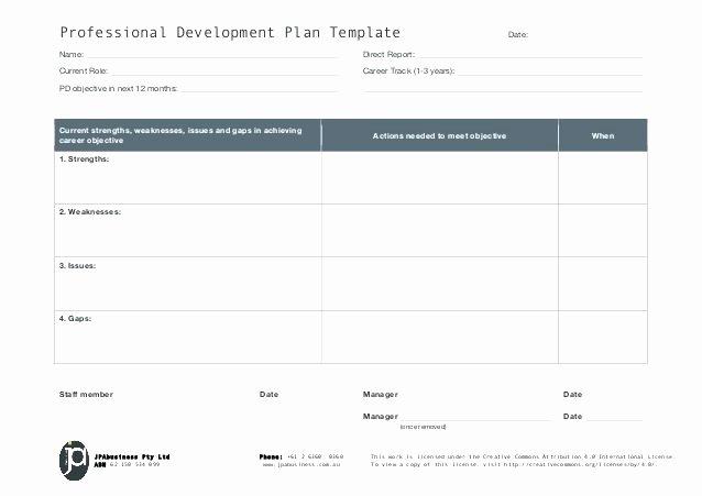 Teacher Improvement Plan Template Fresh Professional Development Plan Template Personal