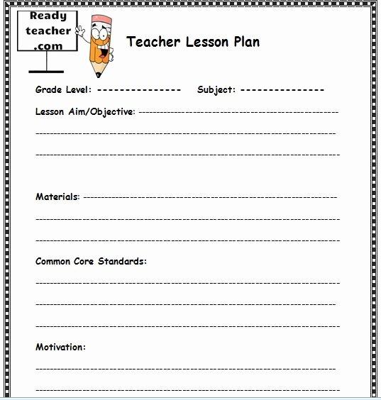 Teacher Lesson Plan Template Fresh Free Lesson Plan Template
