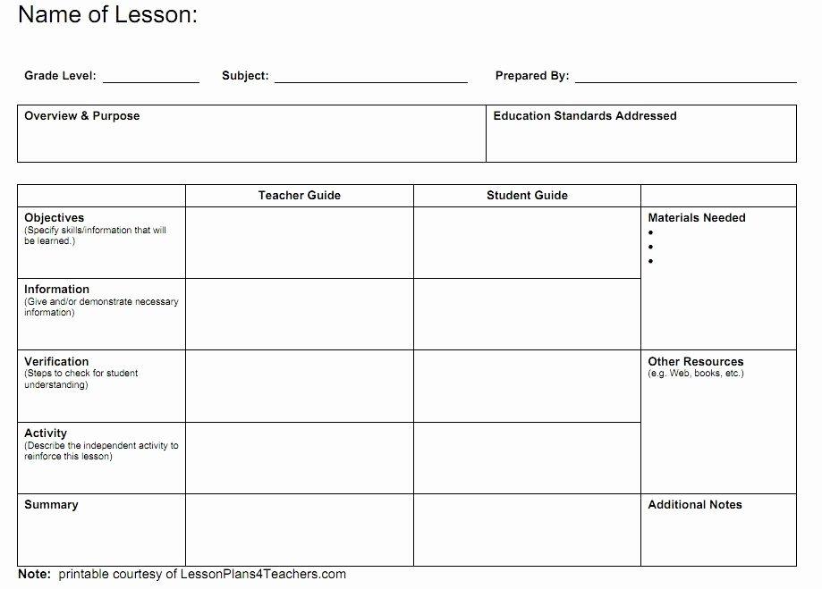 Teacher Lesson Plan Template New Blank Lesson Plans for Teachers