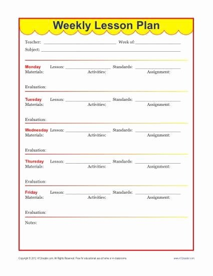 Teacher Lesson Plan Template New Weekly Detailed Lesson Plan Template Elementary