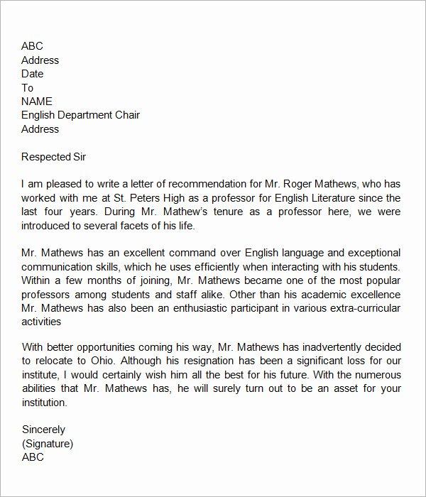 Teacher Letter Of Recommendation Sample Elegant 19 Letter Of Re Mendation for Teacher Samples Pdf Doc