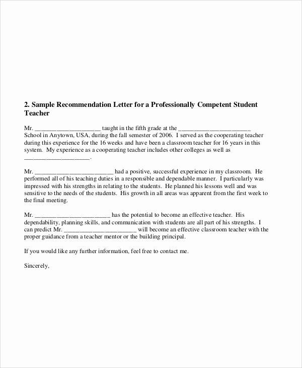 Teacher Letter Of Recommendation Sample Elegant 8 Sample Teacher Re Mendation Letters