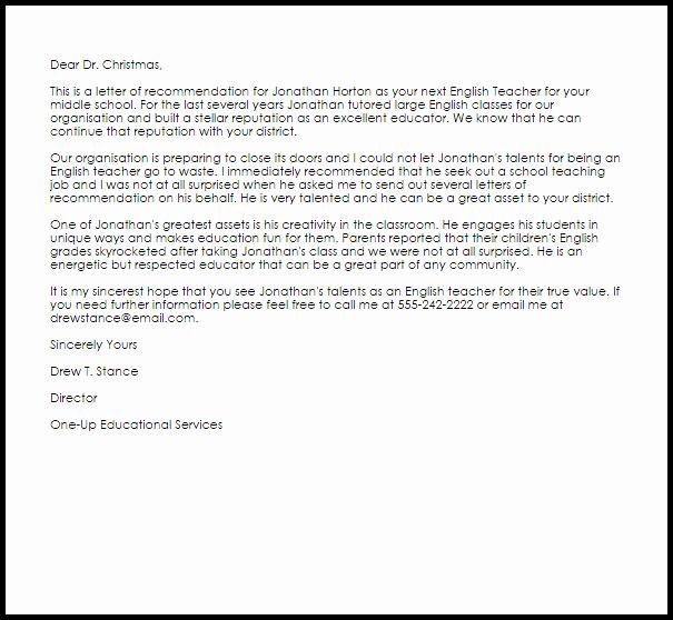 Teacher Letter Of Recommendation Sample Luxury English Teacher Re Mendation Letter Example