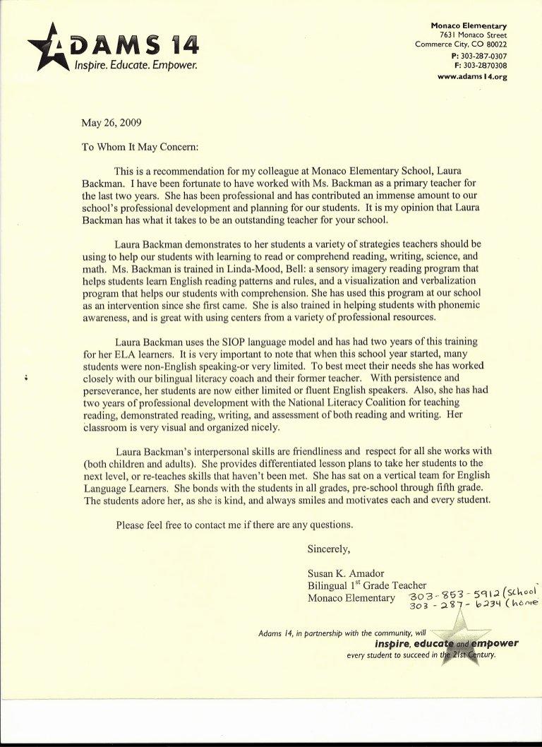 Teacher Letter Of Recommendation Sample New Letter Of Re Mendation From Elementary School Teacher