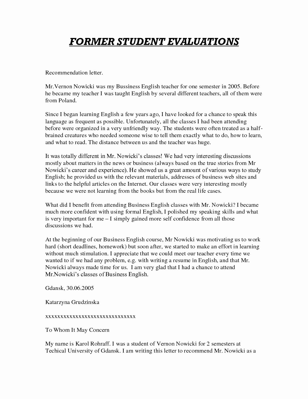 Teacher Letter Of Recommendation Sample Unique Sample Letter Of Re Mendation for Teacher
