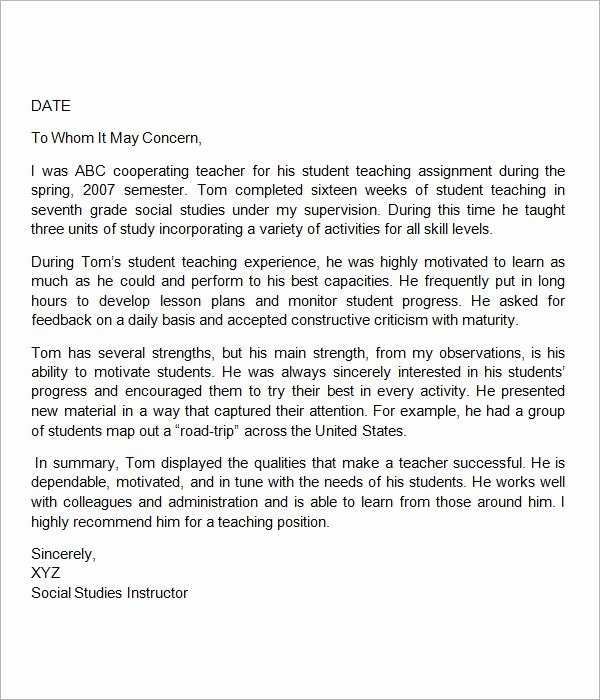 Teacher Letter Of Recommendation Samples Awesome Sample Letter Of Re Mendation for Teacher