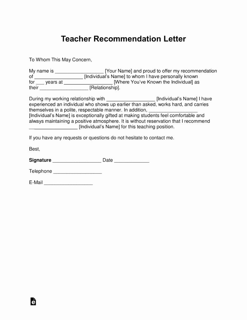 Teacher Recommendation Letter for Student Awesome Free Teacher Re Mendation Letter Template with Samples