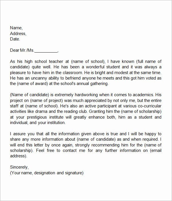 Teacher Recommendation Letter for Student Beautiful 30 Sample Letters Of Re Mendation for Scholarship Pdf