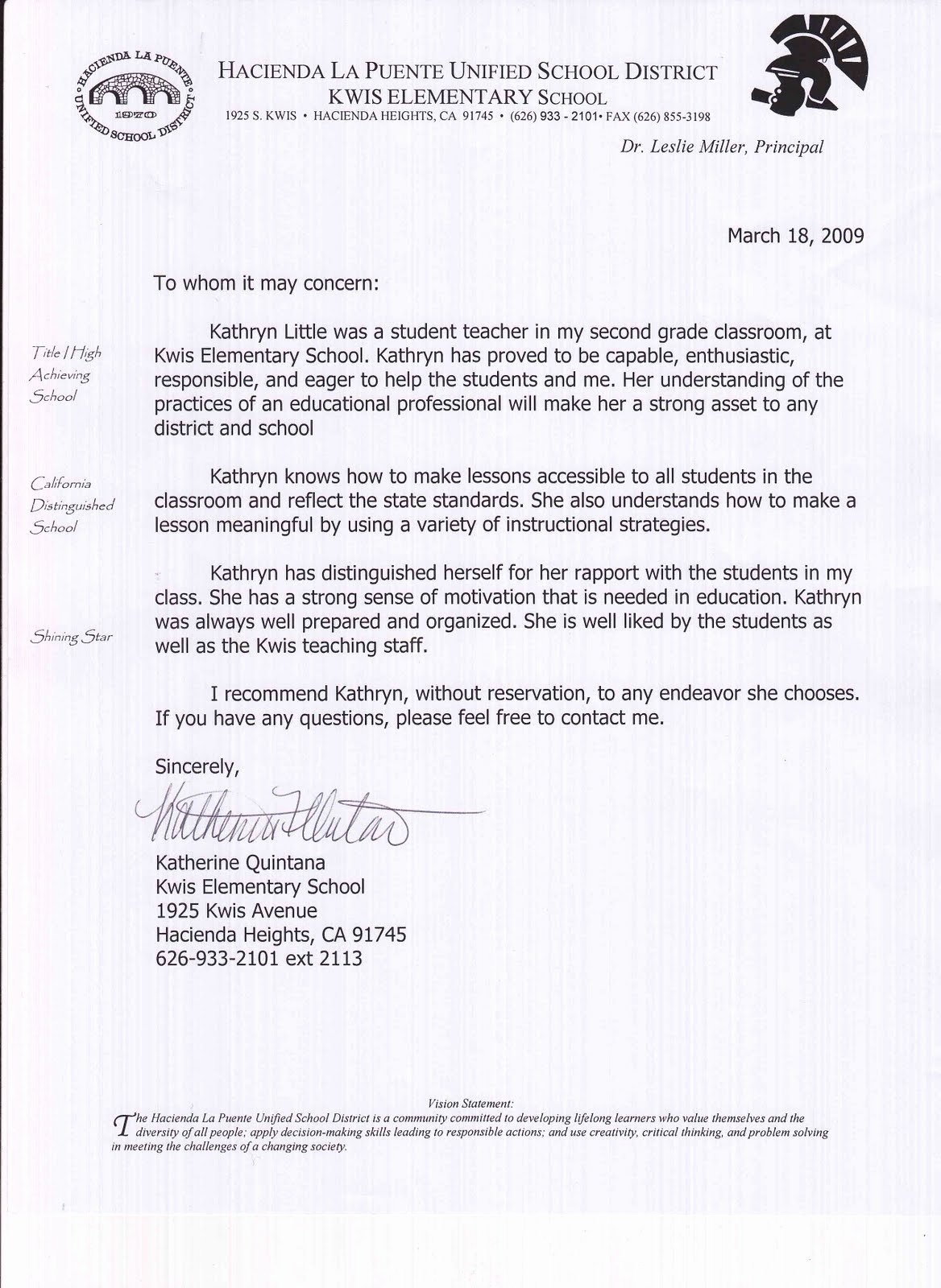 Teacher Recommendation Letter for Student Beautiful Kathryn Little Letters Of Re Mendation Student Teaching