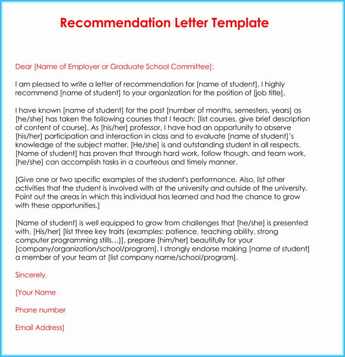 Teacher Recommendation Letter for Student Beautiful Teacher Re Mendation Letter 20 Samples Fromats