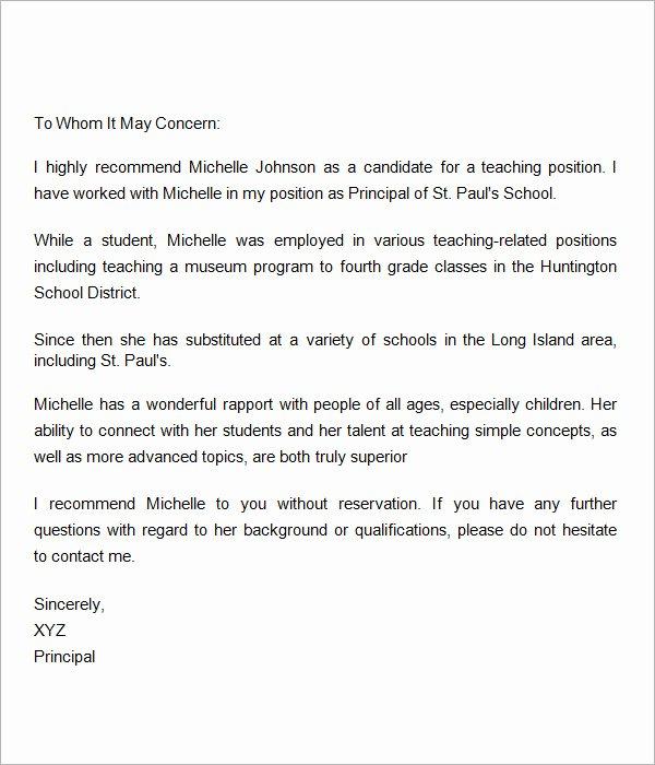 Teacher Recommendation Letter for Student Luxury Sample Letters Of Re Mendation for Teacher 12