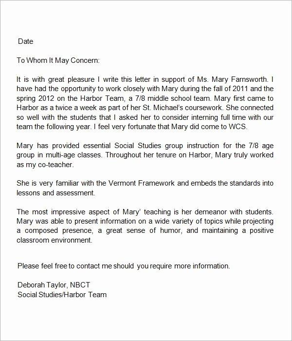 Teacher Recommendation Letter for Student Unique 13 Letters Of Re Mendation for Teacher