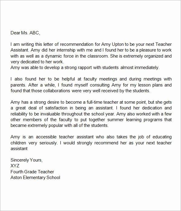 Teacher Recommendation Letter Sample Inspirational Sample Letter Of Re Mendation for Teacher 18