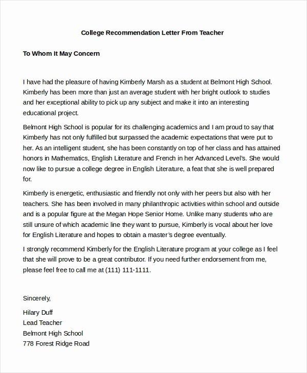 Teacher Recommendation Letter Sample Unique Sample Teacher Re Mendation Letter 8 Free Documents