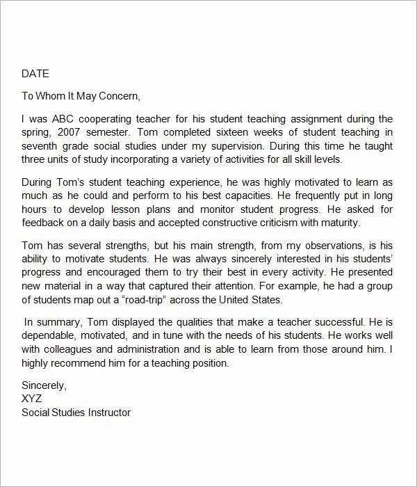 Teacher Recommendation Letter Samples Inspirational 19 Letter Of Re Mendation for Teacher Samples Pdf Doc