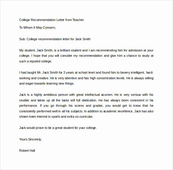 Teacher Recommendation Letter Samples Lovely 18 College Re Mendation Letters Pdf Word