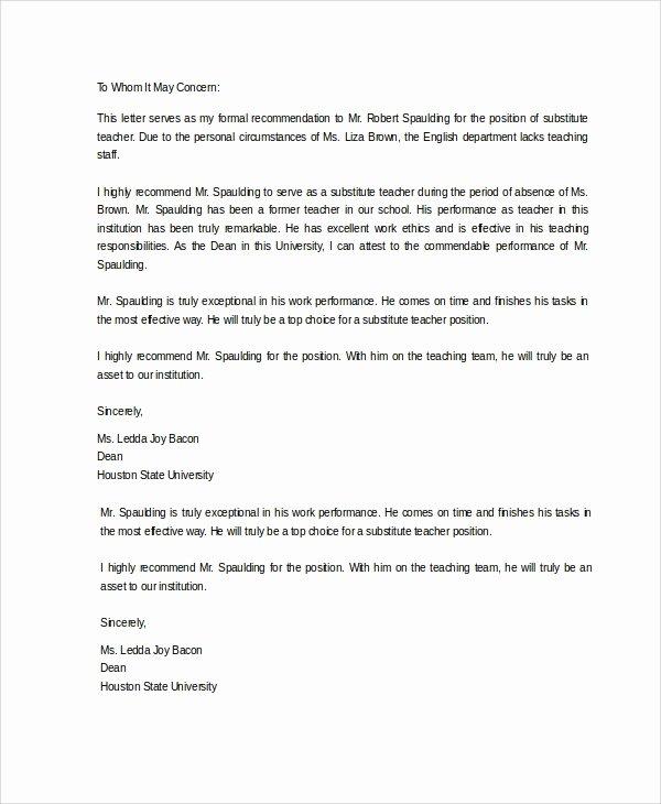 Teacher Recommendation Letter Samples Luxury Sample Letter Of Re Mendation 20 Free Documents