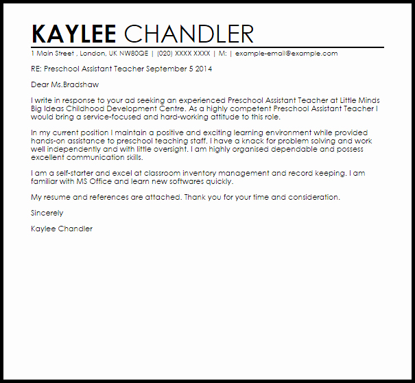 Teaching assistant Recommendation Letter Beautiful Preschool assistant Teacher Cover Letter Sample