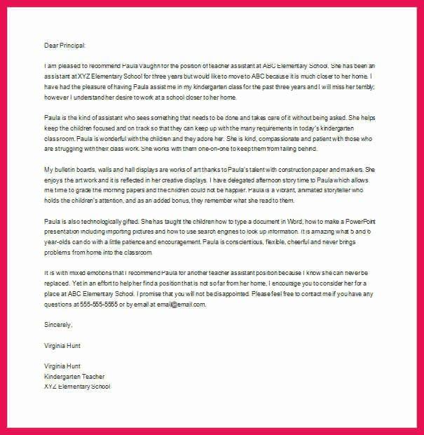 Teaching assistant Recommendation Letter Beautiful Teacher Re Mendation Letter