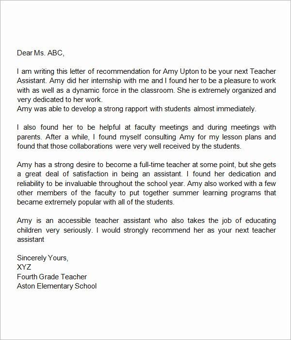 Teaching assistant Recommendation Letter Fresh Sample Letters Of Re Mendation for Teacher 12