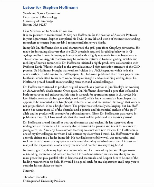 Teaching assistant Recommendation Letter Lovely 8 Sample Teacher Re Mendation Letters
