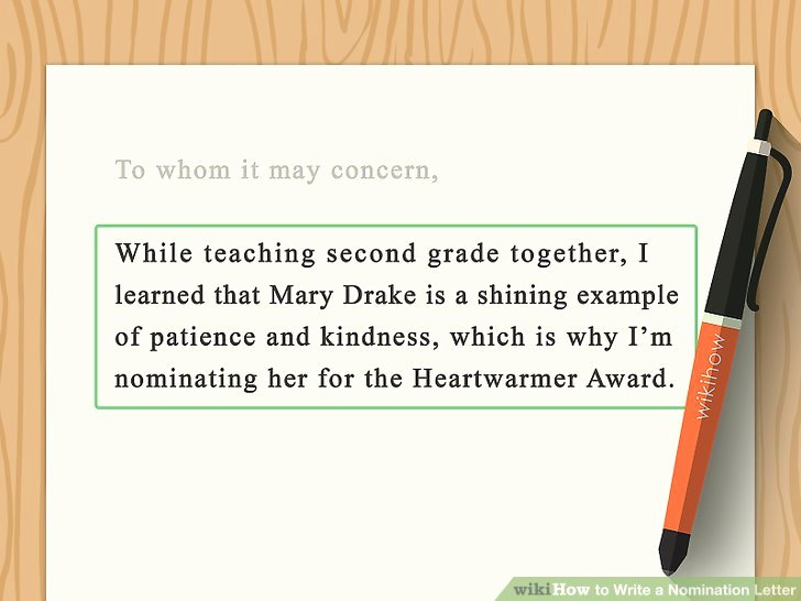 Teaching Award Recommendation Letter Best Of How to Write A Nomination Letter with Wikihow