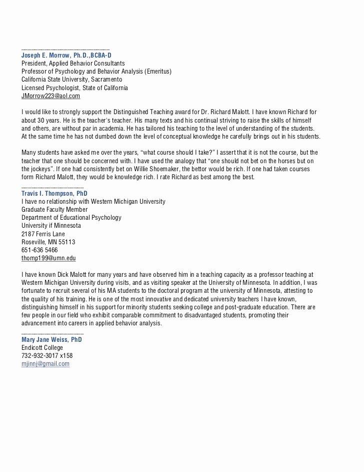 Teaching Award Recommendation Letter Elegant Malott Richard Distinguished Teaching Nomination 3