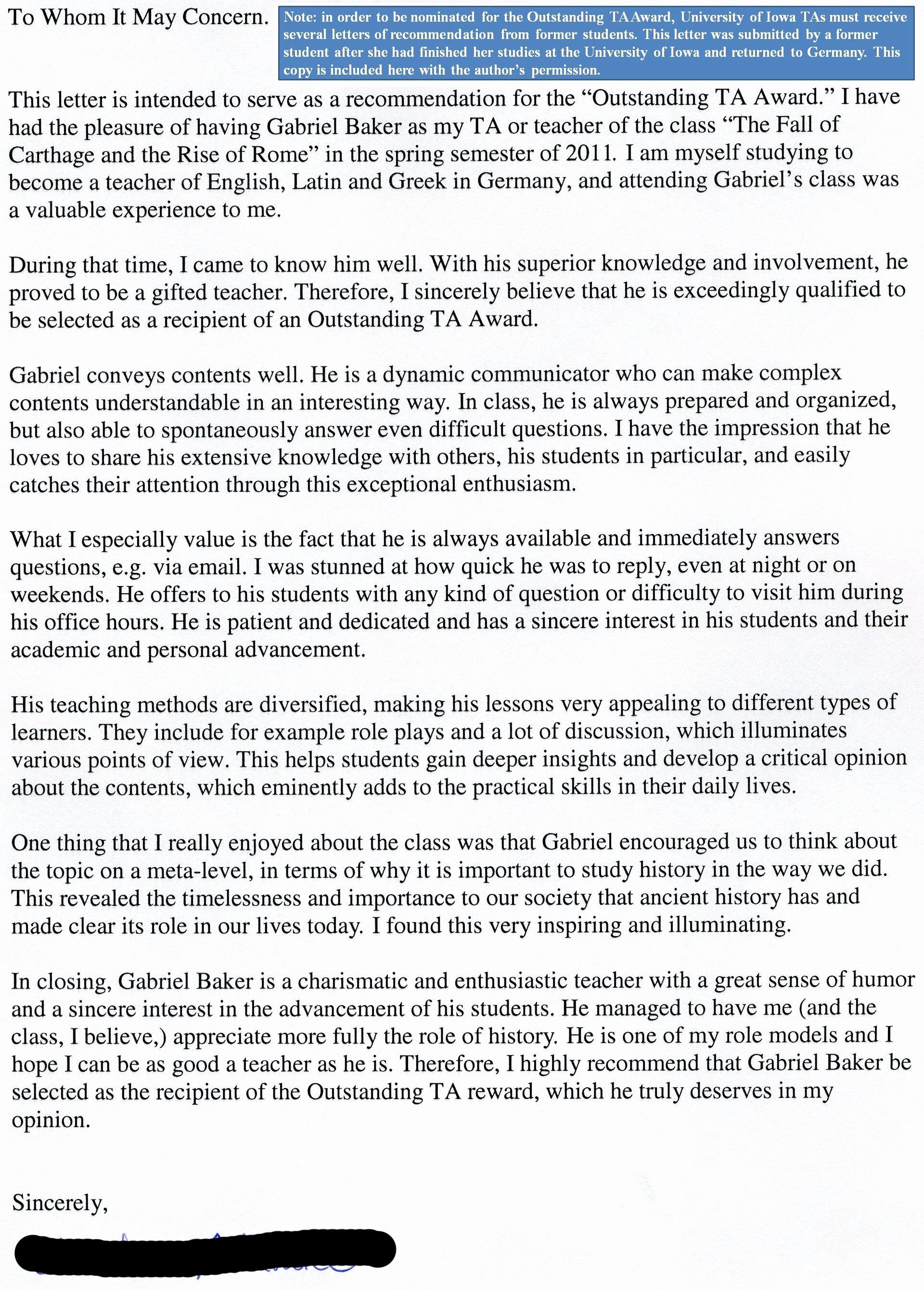 Teaching Award Recommendation Letter Elegant Teaching – Gabriel David Baker