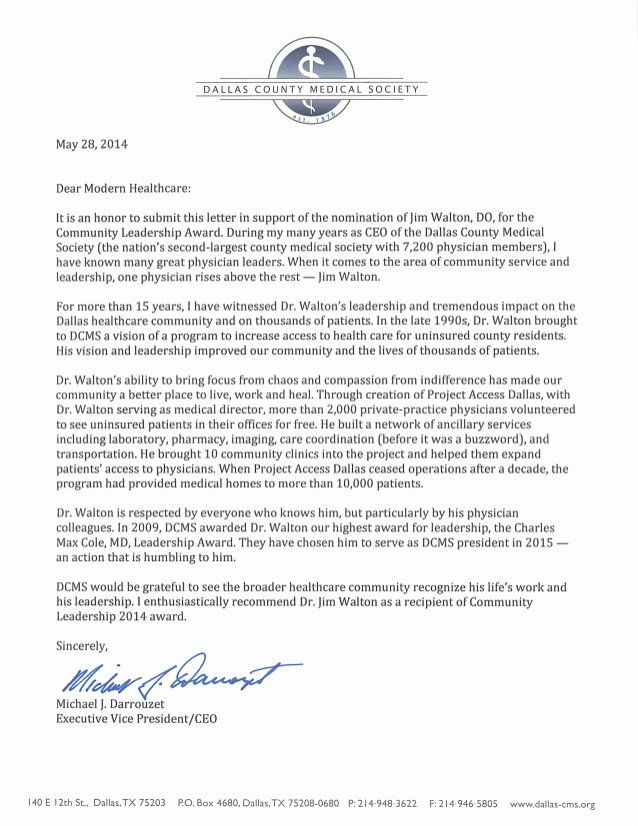 Teaching Award Recommendation Letter Fresh Jim Walton – 2014 Nominee for Modern Healthcare's