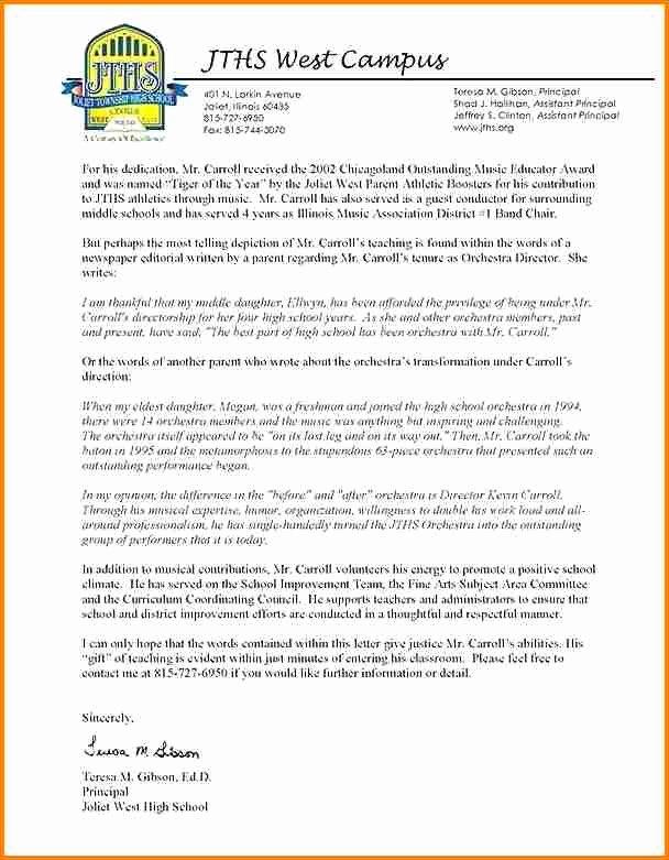 Teaching Award Recommendation Letter Lovely 5 Letter Of Re Mendation for Teaching Award Sample