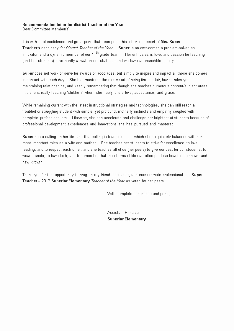 Teaching Award Recommendation Letter Lovely Free Letters Of Re Mendation for Teacher Of the Year