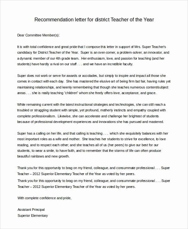 Teaching Award Recommendation Letter Lovely Teacher Letter Nomination Year