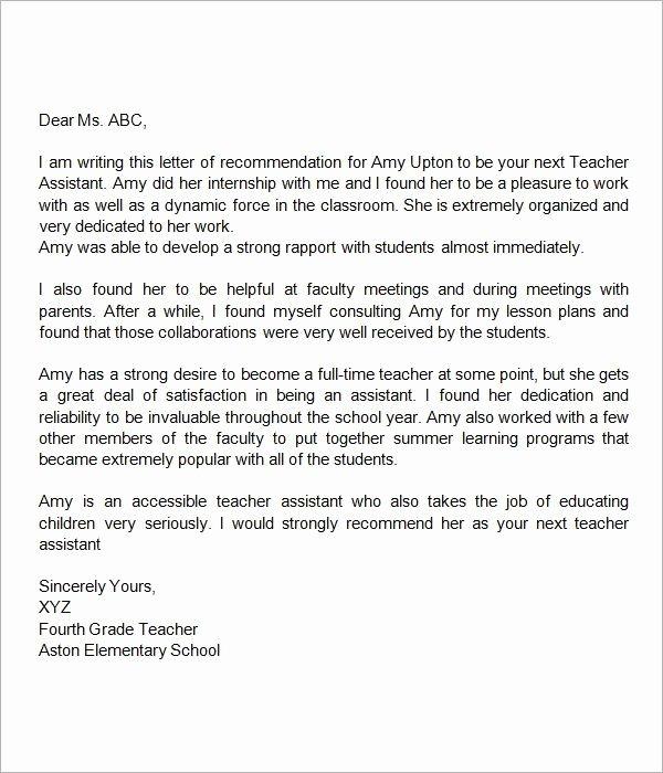 Teaching Award Recommendation Letter Unique Re Mendation Letter for Teacher assistant