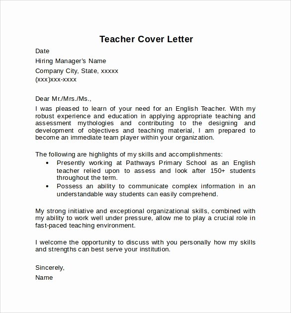 Teaching Cover Letter format Awesome 10 Teacher Cover Letter Examples Download for Free