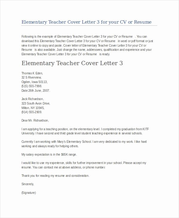 Teaching Cover Letter format Lovely Teacher Cover Letter Example 9 Free Word Pdf Documents