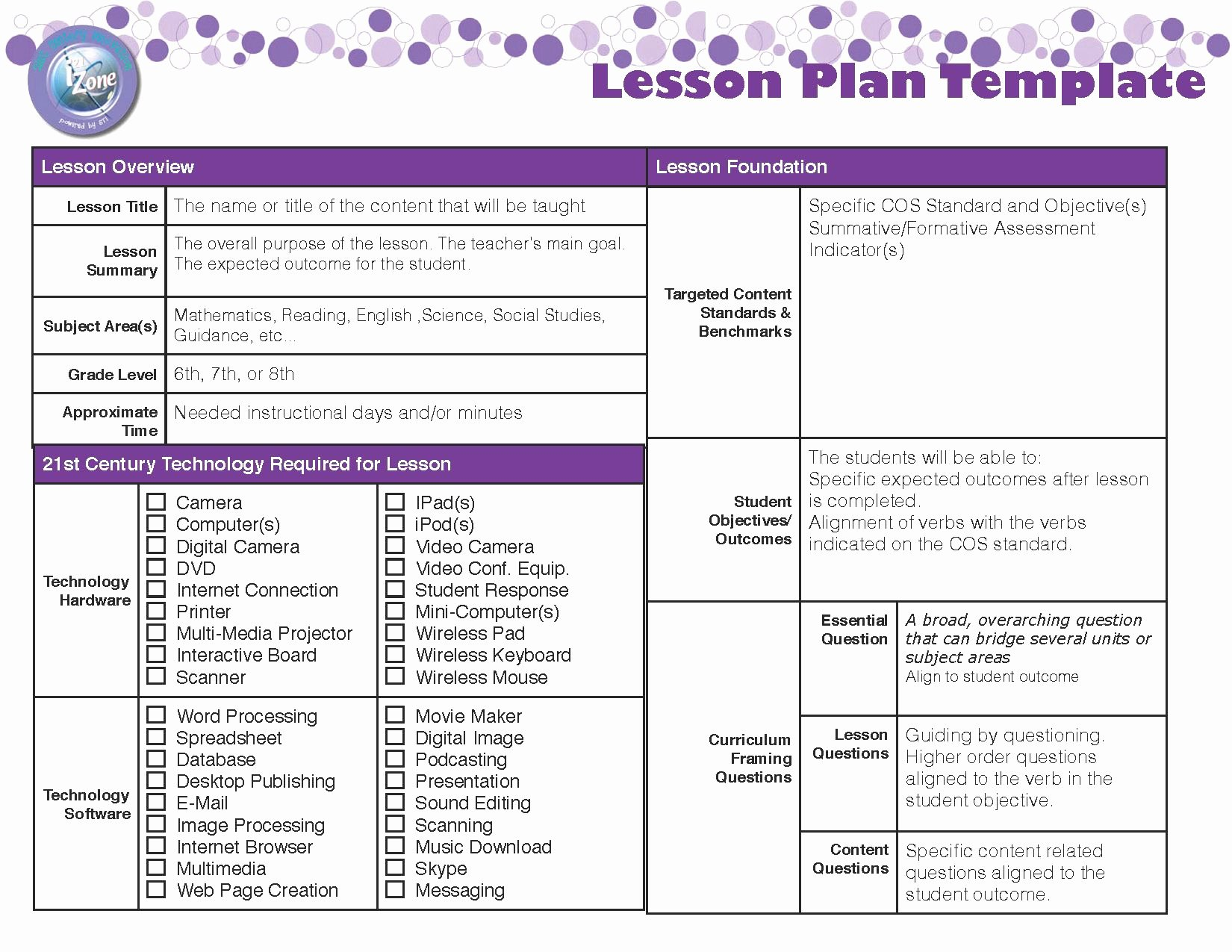 Teaching Lesson Plan Template Inspirational Lesson Plan Template
