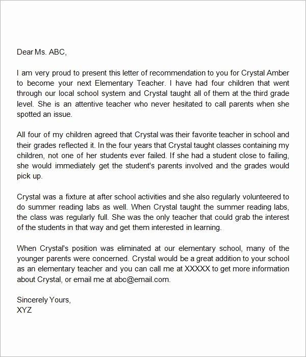 Teaching Letter Of Recommendation Inspirational Letter Of Re Mendation Elementary Teacher