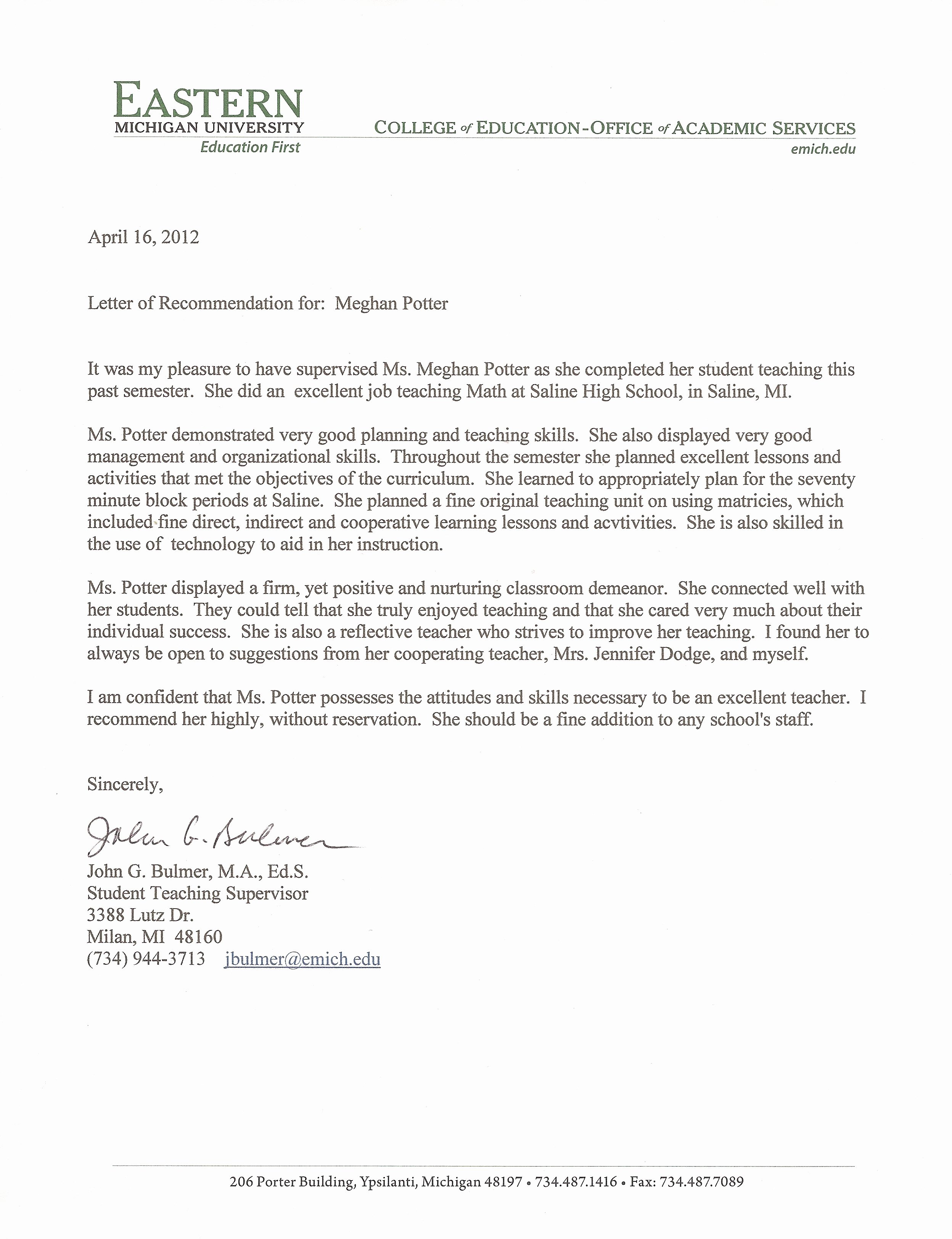 Teaching Letter Of Recommendation New Resume Meghan Potter