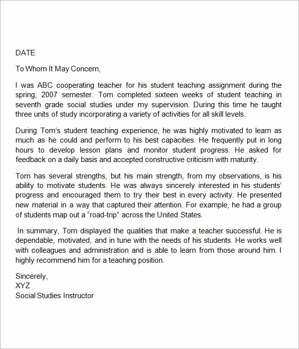 Teaching Letter Of Recommendation Template Inspirational 19 Letter Of Re Mendation for Teacher Samples Pdf Doc