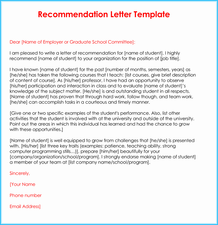 Teaching Letter Of Recommendation Template Inspirational Teacher Re Mendation Letter 20 Samples Fromats