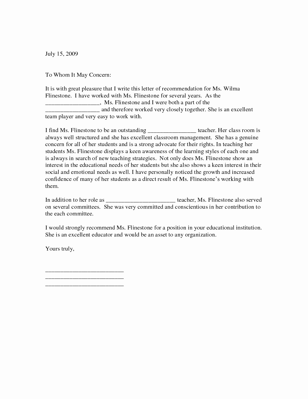 Teaching Letter Of Recommendation Unique Sample Letter Of Re Mendation for Teacher