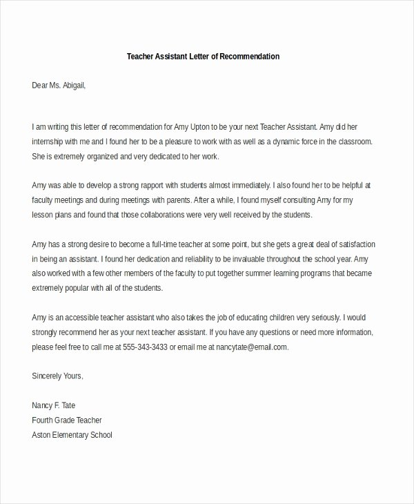 Teaching Letter Of Recommendation Unique Sample Teacher Re Mendation Letter 8 Free Documents